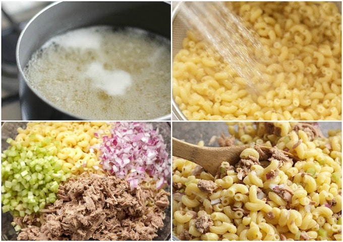 step photos showing cooking pasta, rinsing and combining ingredients
