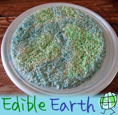 A photo of an edible earth cake resting on a plate.