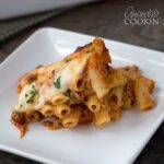 This baked ziti is a cheesy mess of goodness! It's a delicious casserole full of cheese and pasta, and if you ask me, that's one awesome dinner dish.