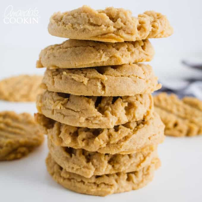 homemade peanut butter cookies stacked