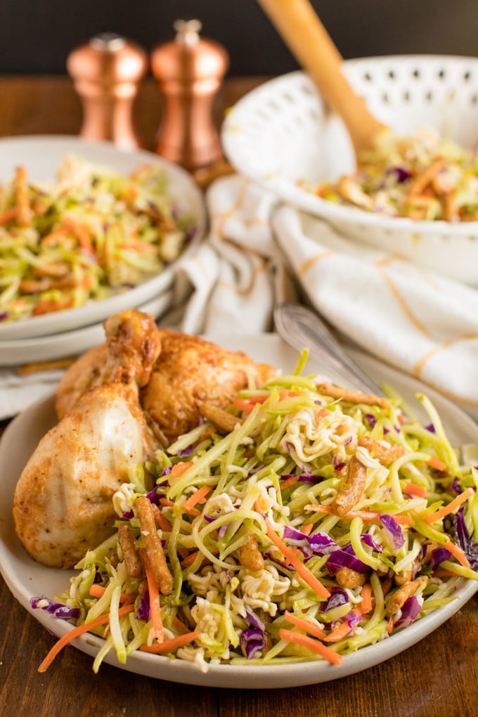 plaste with chicken and broccoli slaw