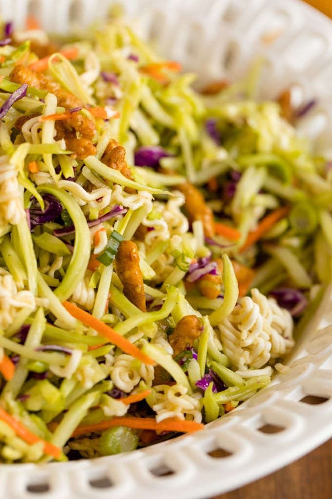 close up of asian broccoli slaw