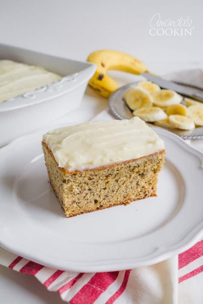 Deliciously moist Banana Cake with Vanilla Cream Cheese Frosting