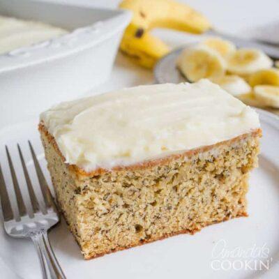 A piece of Banana cake on a plate