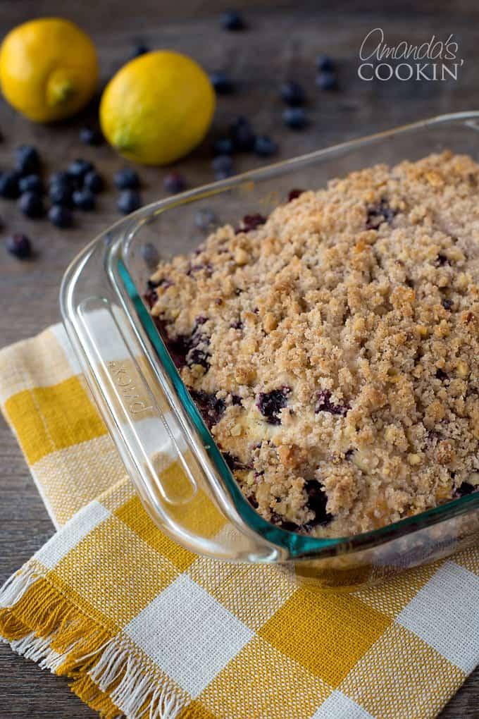blueberry breakfast cake in glass pan