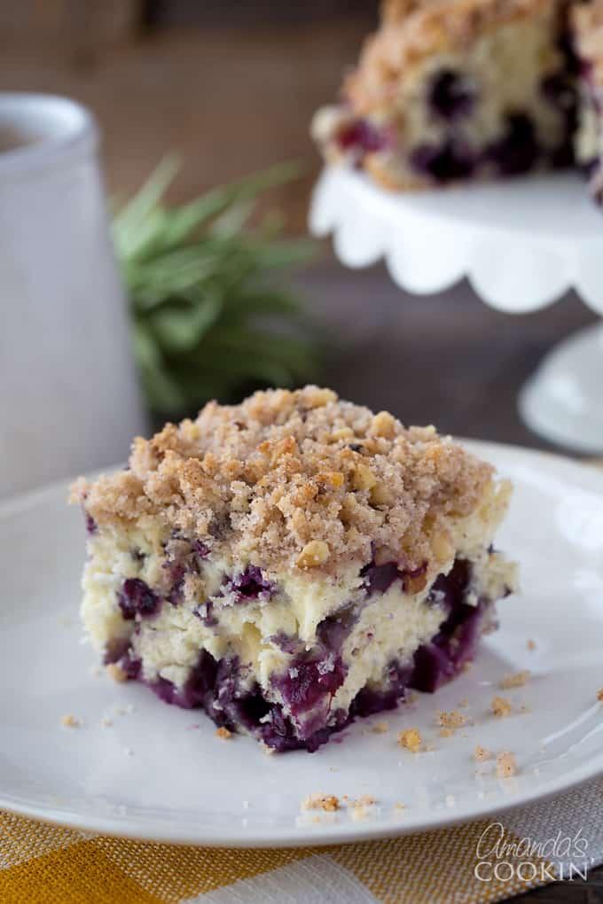 piece of blueberry breakfast cake on plate