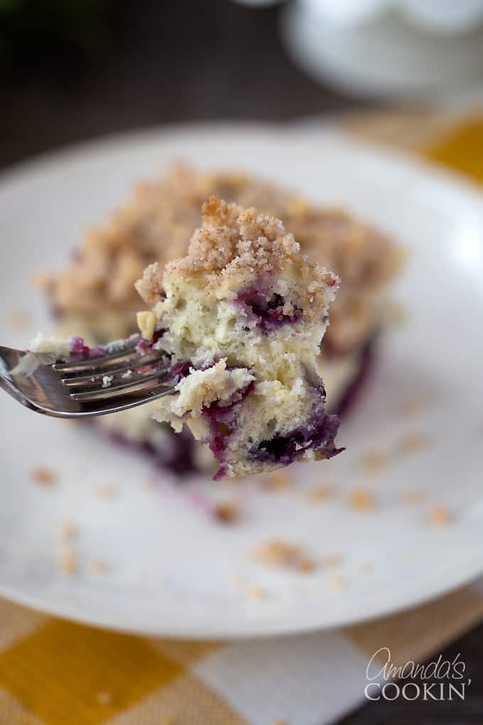 Forkful of blueberry breakfast cake