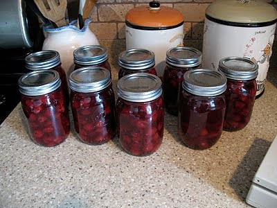 cherry pie filling in jars