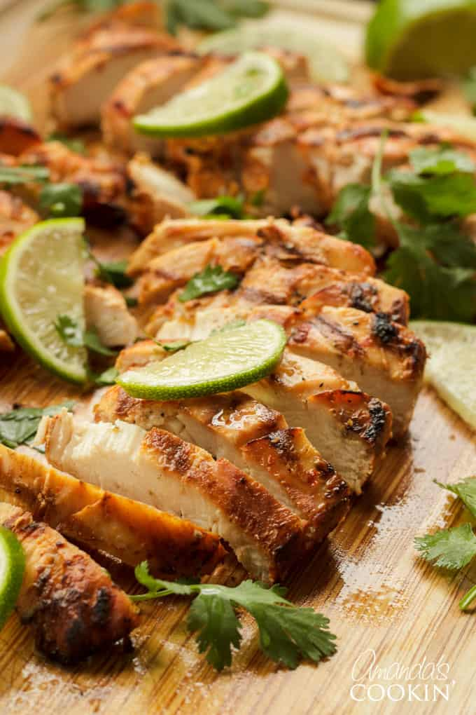 Chile Lime Chicken with lime wedges