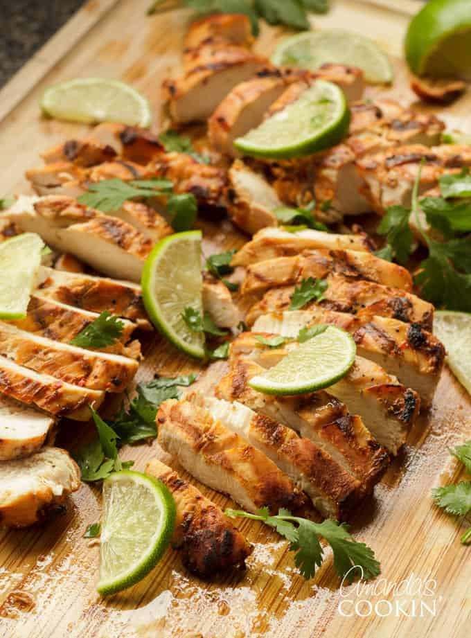 Chile Lime Chicken sliced on cutting board