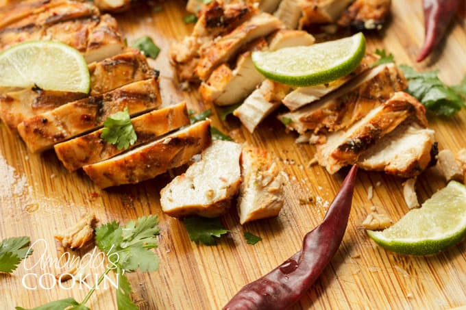 Juicy, tender Chile lime Chicken on cutting board