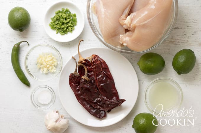 This marinade includes dried red chiles, limes, garlic and a jalapeno pepper