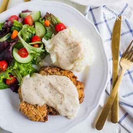 Chicken fried steak is by no means low fat, but it is a comfort food. It's delicious, it's fast, and a great way to use cube steak or even a tough cut of round steak.