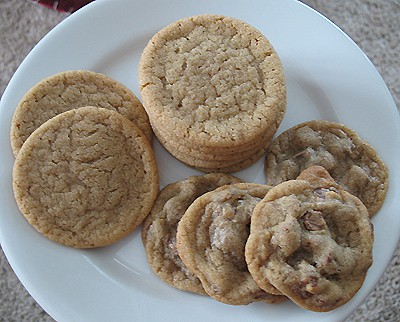 A overhead photo of a plate of brown sugar cookies.