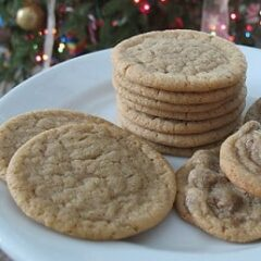 A close up photo of a plate of brown sugar cookies.