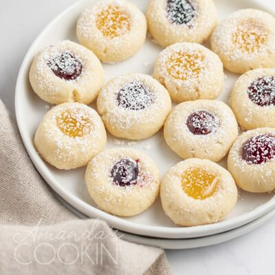 thumbprint cookies on a plate
