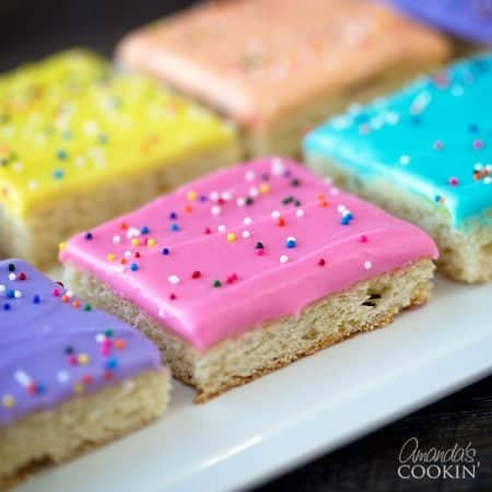 These Frosted Sugar Cookie Bars would be fun for Valentine's Day, Easter, a birthday or just about anytime. They are super soft and delicious!