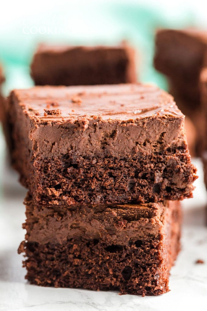 2 stacked chocolate cheesecake brownies