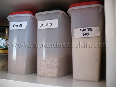 A photo of a box of crumbs, oats and master mix.