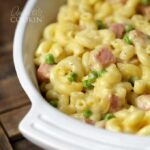 Macaroni and Cheese Casserole with Ham and Peas