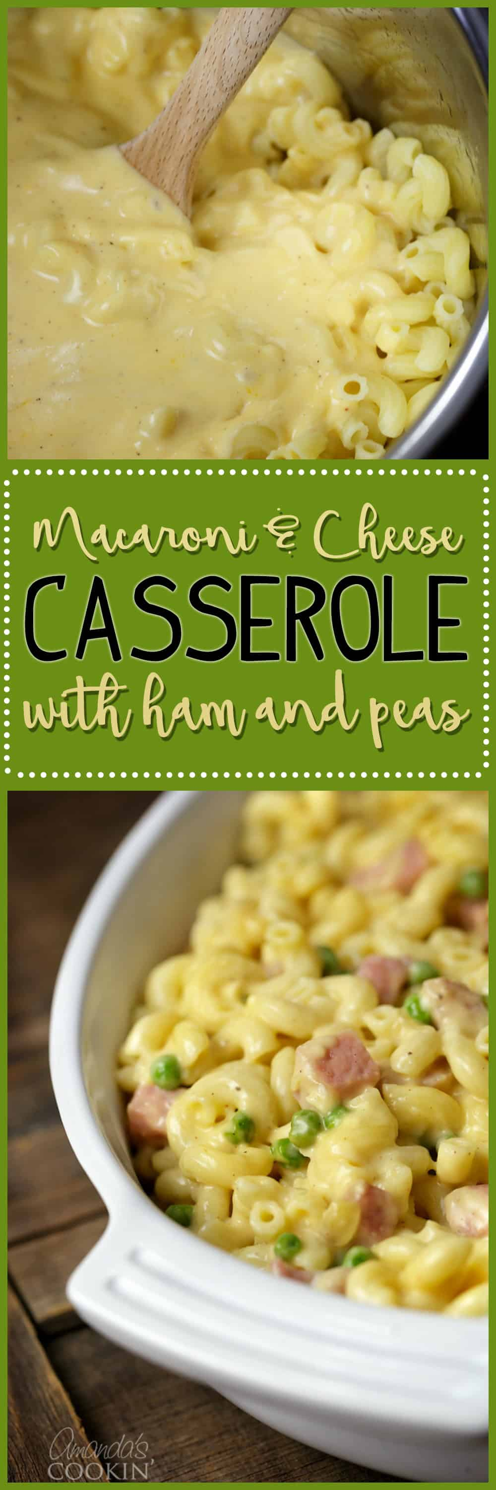 Everyone's favorite comfort food, Macaroni and Cheese Casserole. Ham and peas compliment this classic family favorite casserole.