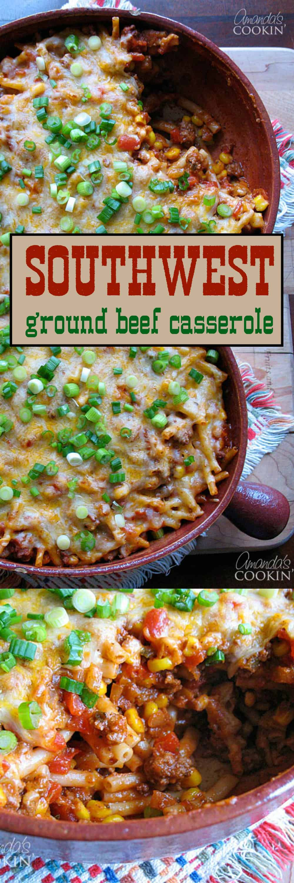 We love hamburgers, tacos, and chili, but new ground beef recipes are always welcome in my kitchen. This southwest ground beef casserole is a favorite!