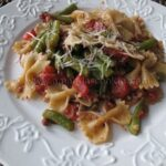Farfalle with Green Beans and Pecans in Fire Roasted Tomato Sauce