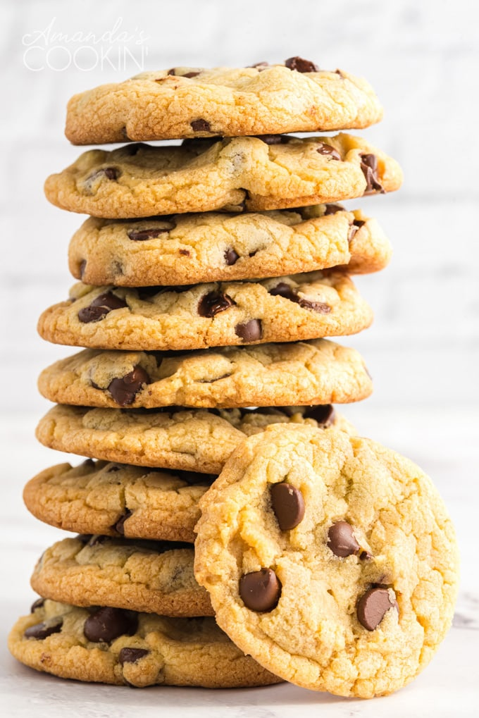 tall stack of Chocolate Chip Pudding Cookies