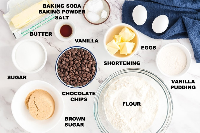 LABELED INGREDIENTS FOR Chocolate Chip Pudding Cookies