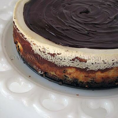 A close up photo of a chocolate chip ricotta cheesecake.