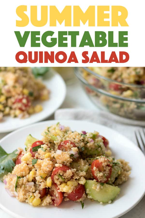 Summer Vegetable Quinoa Salad with cucumbers, tomatoes, corn, gouda, and quinoa