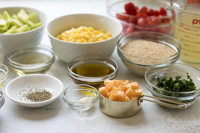 Ingredients for summer vegetable quinoa salad.