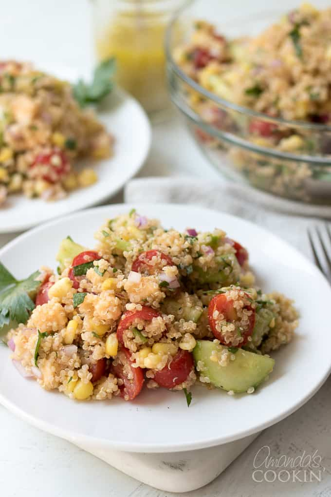 Summer Vegetable Quinoa Salad on a plate.