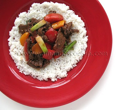 Beef Stir Fry with Tomatoes and Peppers Dinner