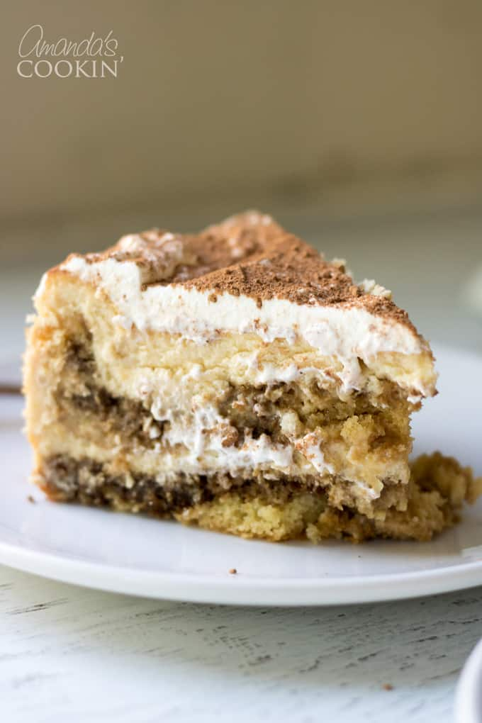 Tiramisu Cheesecake Slice on a plate
