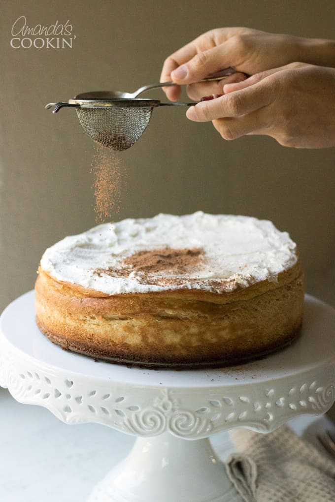 How to make tiramisu cheesecake: dust cocoa over the top