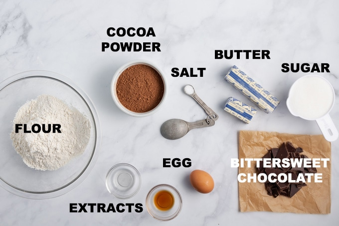 labeled ingredients for cookies