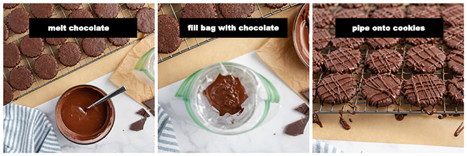 steps for drizzling chocolate