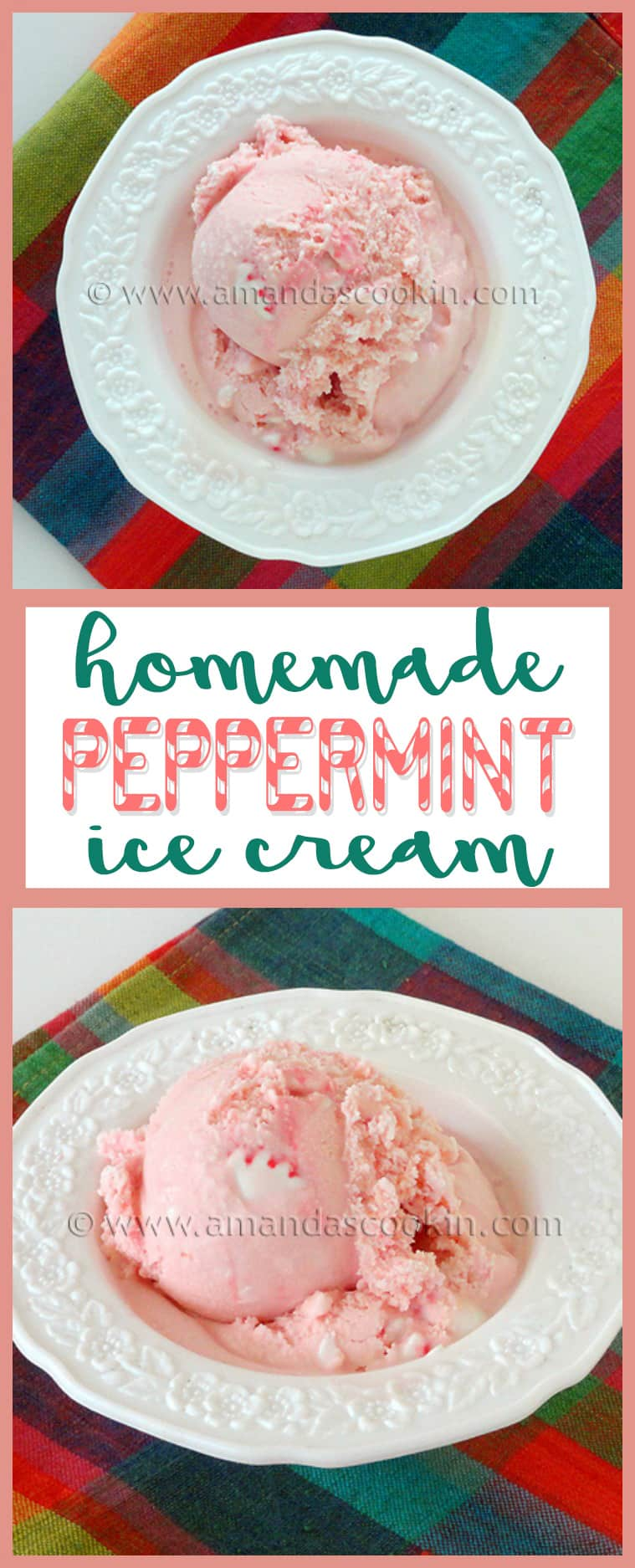 Delicious homemade pink peppermint ice cream, perfect for the holidays or any time of the year!