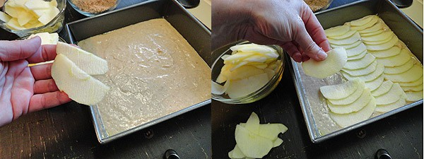 Photos of apple slices being placed on top of the batter.