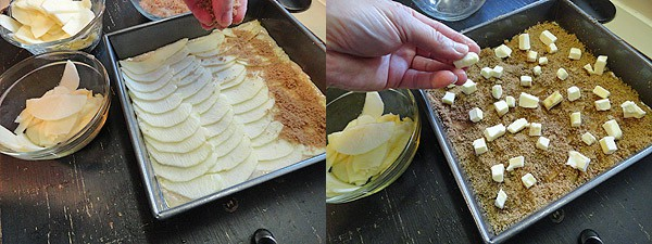 Photos of cinnamon sugar being sprinkled on top of the apples and butter squares on top of the cinnamon sugar.