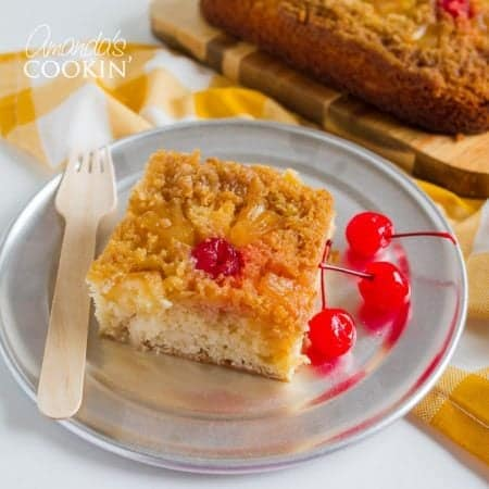 This pineapple upside down cake has become a family favorite! It's comprised of a tasty yellow cake recipethen topped with a buttery brown sugar topping. Moist on the inside, sweet on top, and crunchy on the edges. Just the way we like it!