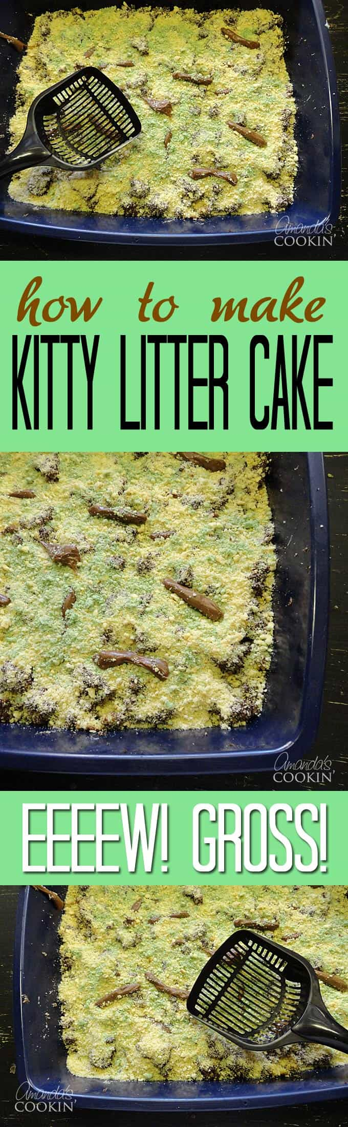A close up overhead photo of a kitty litter cake.