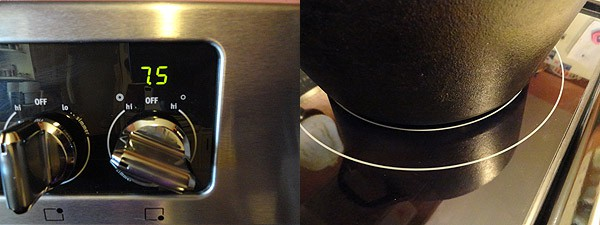 A photo of stove controls and another photo of one of the burners on the stove.