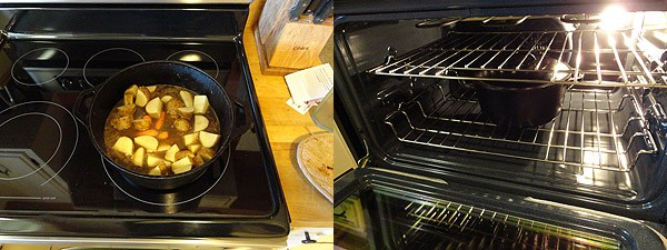 Photos of the top of a stove and another photo of inside the oven.