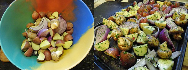A photo of a bowl of cut up red onion, mushrooms and potatoes. Another photo of red onion, potatoes and mushrooms on a baking sheet.