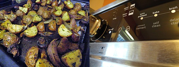 A close up photo of roasted potatoes, red onion and mushrooms on a baking sheet. Another close up photo of an oven.