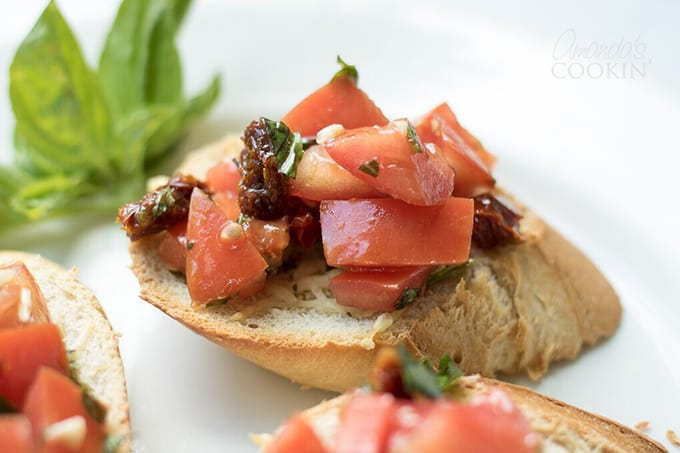 Bruschetta on toasted bread