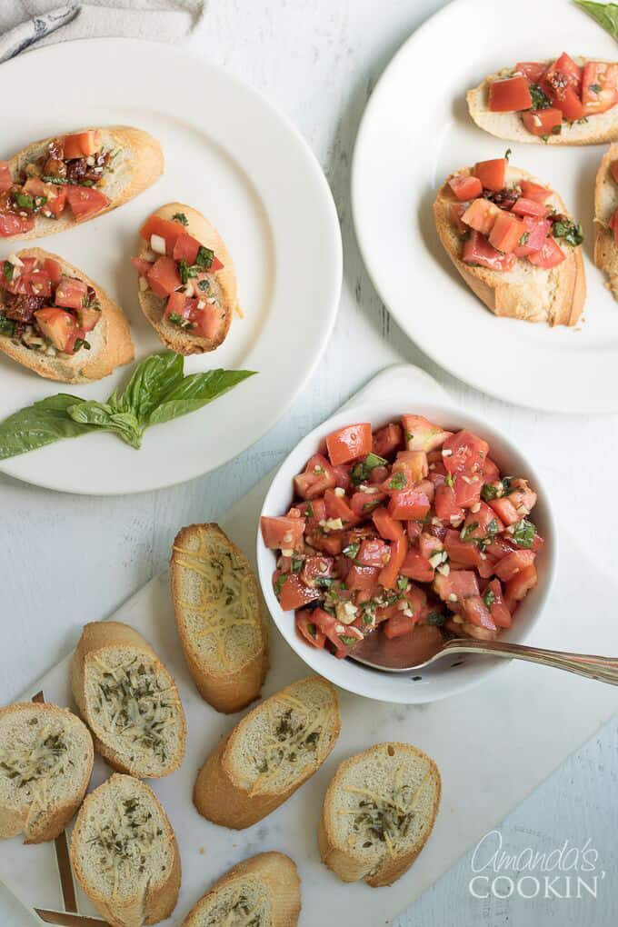 Bruschetta appetizer on plates