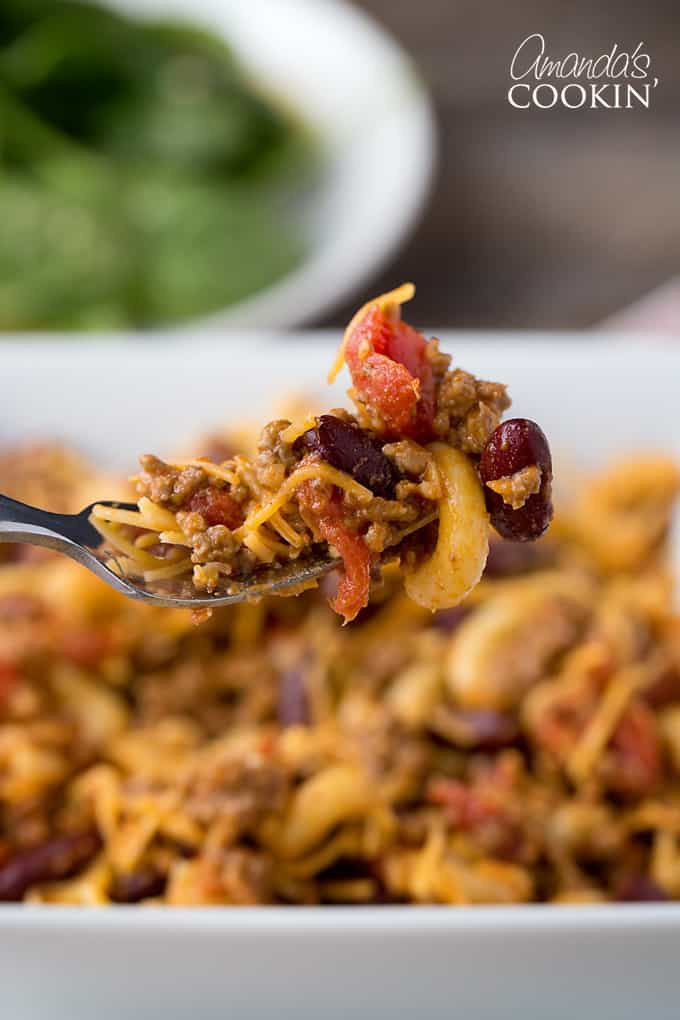 Prepare elbow macaroni per package directions. Drain and stir into chili.